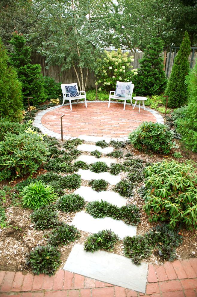 Small transitional backyard brick patio photo in Boston