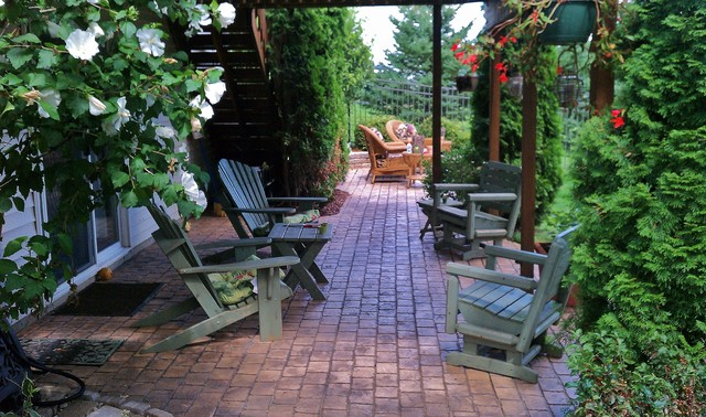 Coble Field Brick Stamped Concrete Patio Traditional