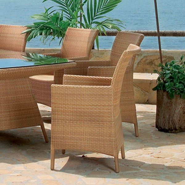 Cocoa beach outdoor wicker dining chairs modern patio for Modern wicker dining chairs