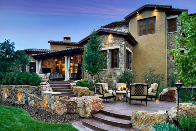 Colorado Tuscan House And Pool Mediterranean Patio