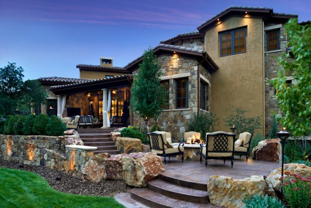 Colorado tuscan residence pool cabana mediterranean for Tuscany houses