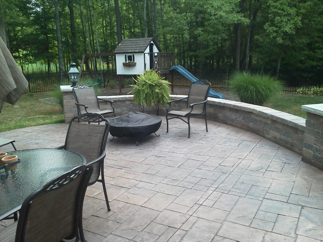Colored Stamped Concrete Patio Amp Sitting Wall