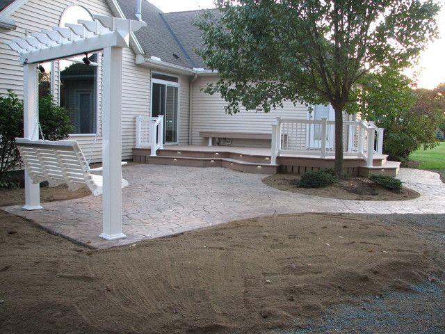 Colored Stamped Concrete Patio's traditional-patio