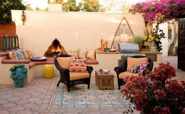 Colorful moroccan outdoor living eclectic patio san - Decoracion patios exteriores ...