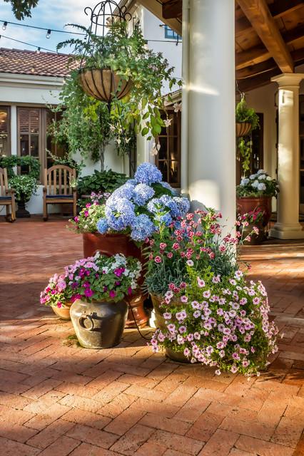 Colorful Pots Mediterranean Patio
