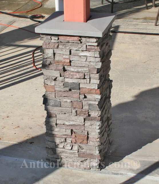 Columns Wraps In Stacked Stone Traditional Patio