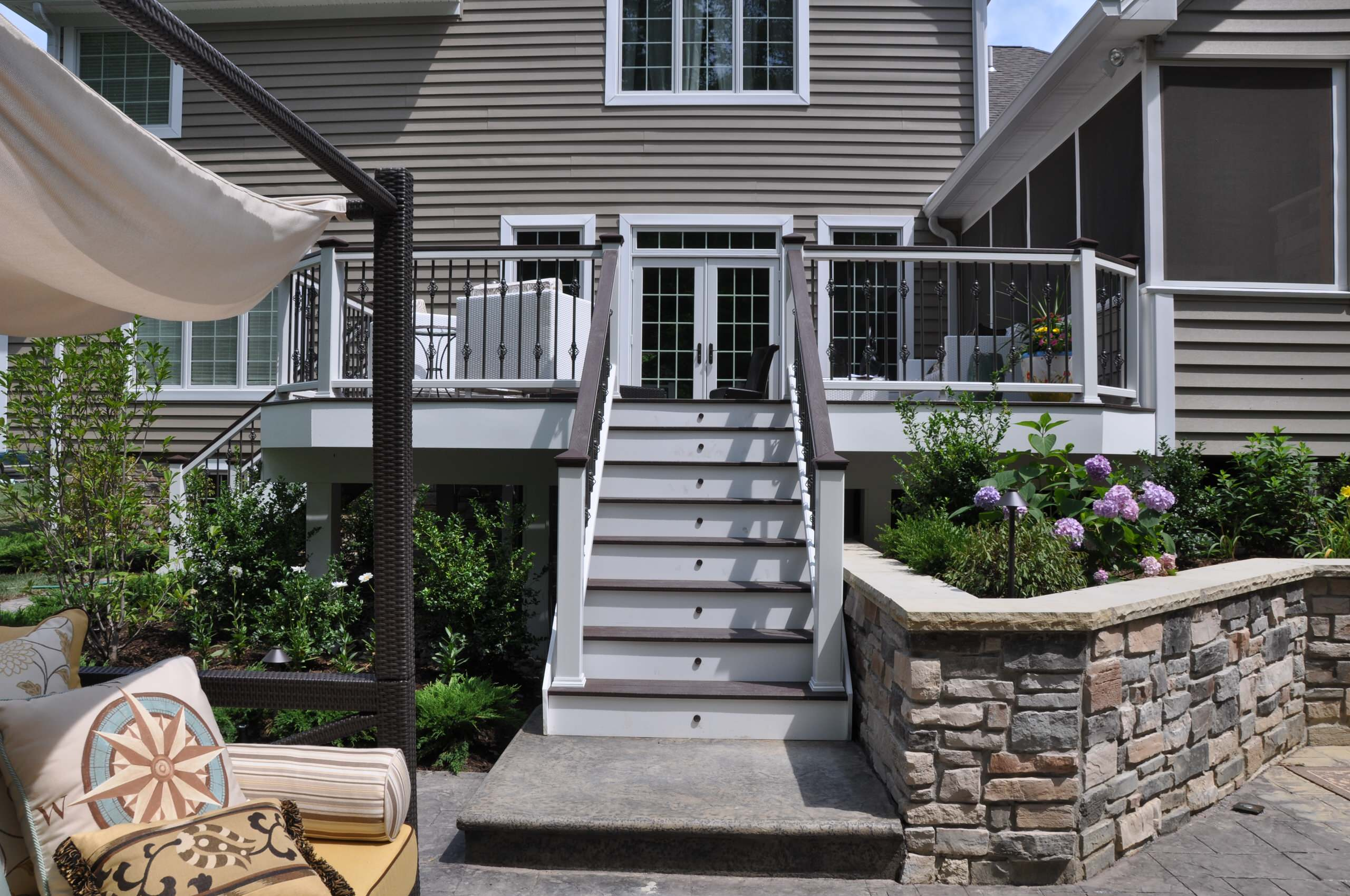 Composite Deck & Stone Planter