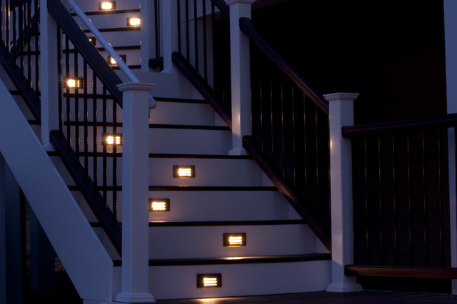 Composite Deck Staircase With Path Lights Traditional