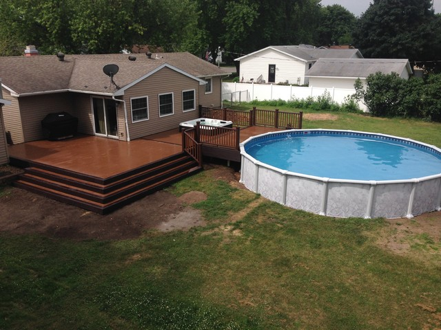 Composite Deck With Hot Tub And Pool