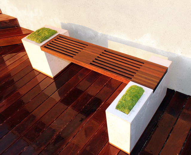 Concrete And Ipe Bench Modern Patio