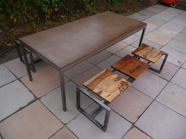 Concrete and steel table modern patio