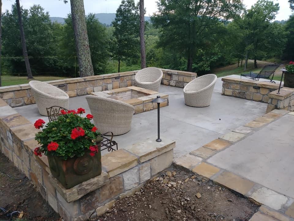 Concrete & stone patio