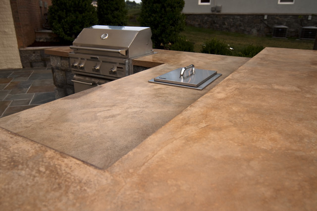 concrete countertop of outdoor kitchen