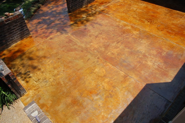 Concrete Overlay And Acid Stained Patio Mediterranean Patio