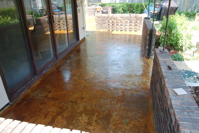 Concrete overlay and acid stained patio mediterranean for How to clean outdoor stained concrete