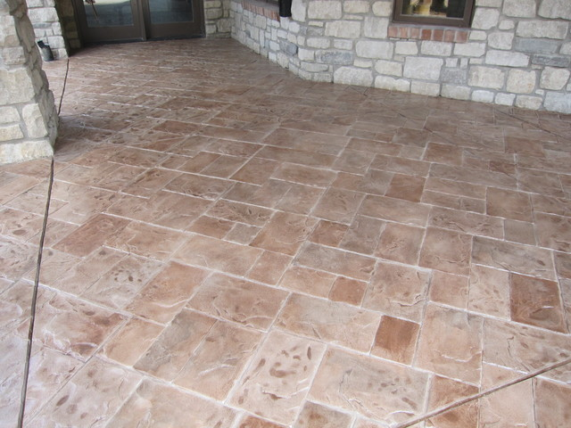 Concrete Patio With Stamped Concrete Overlay Modern Patio
