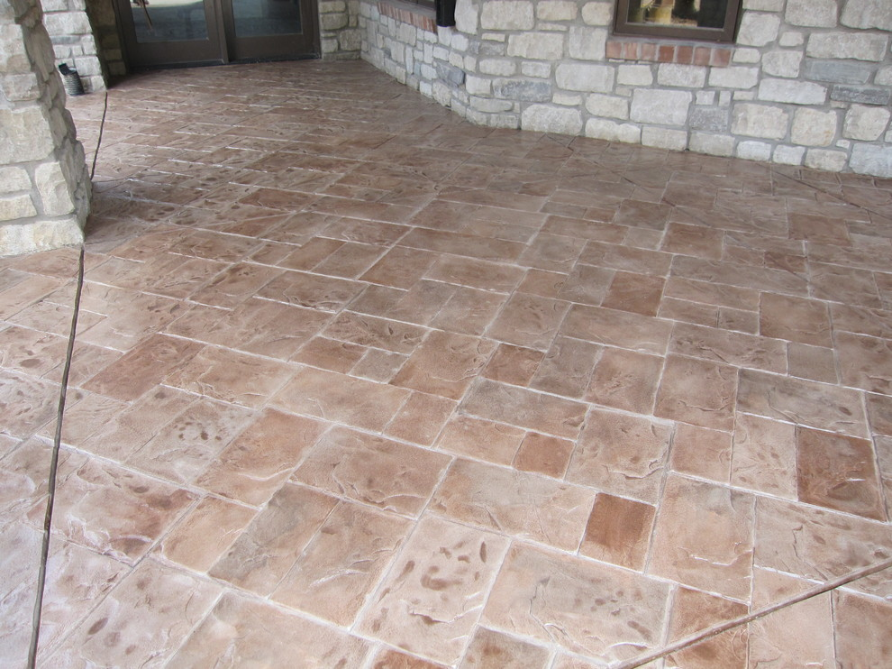 Concrete Patio With Stamped, Outdoor Patio Concrete Overlay