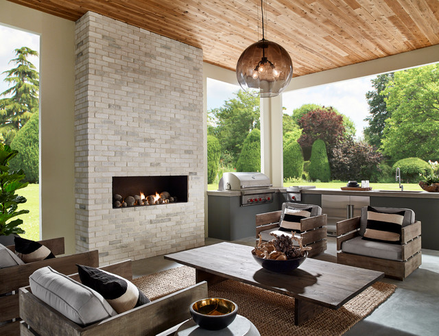 Cool Contemporary Chic Outdoor Kitchen With Brick Fireplace And Beutiful Home Inspiration Xortanetmahrainfo
