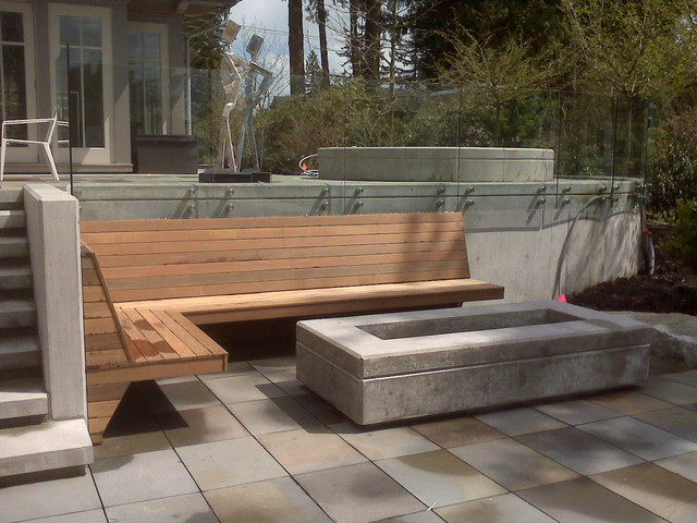 contemporary fire pit and built in bench contemporary