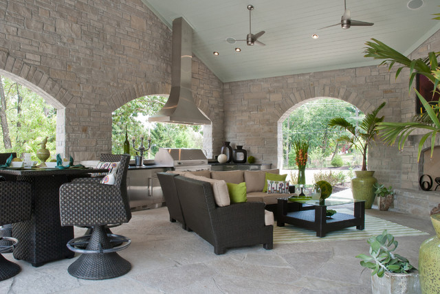 Contemporary Green Home transitional-patio