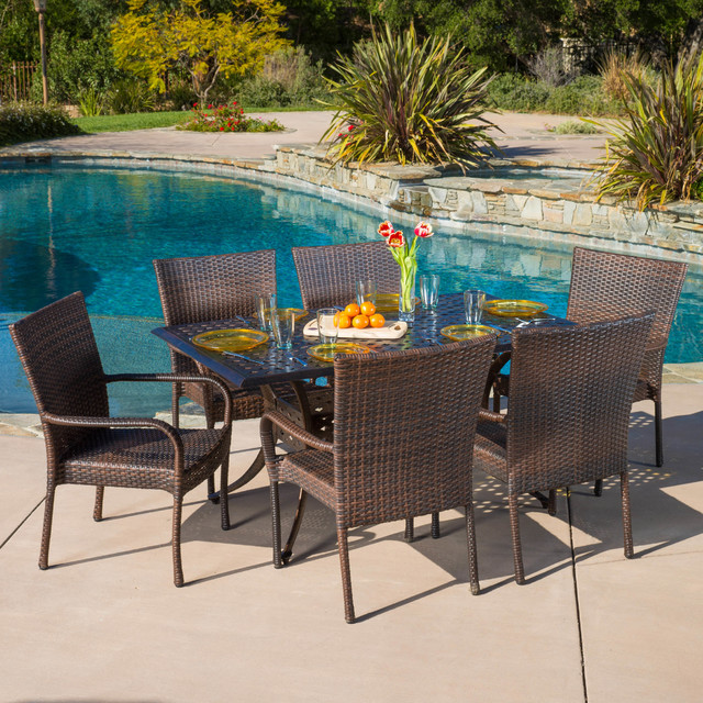 Contemporary Outdoor Patio Ft 7pcs Cast Aluminum Wicker Dining Set Klassisch Patio Los Angeles Von Gdfstudio