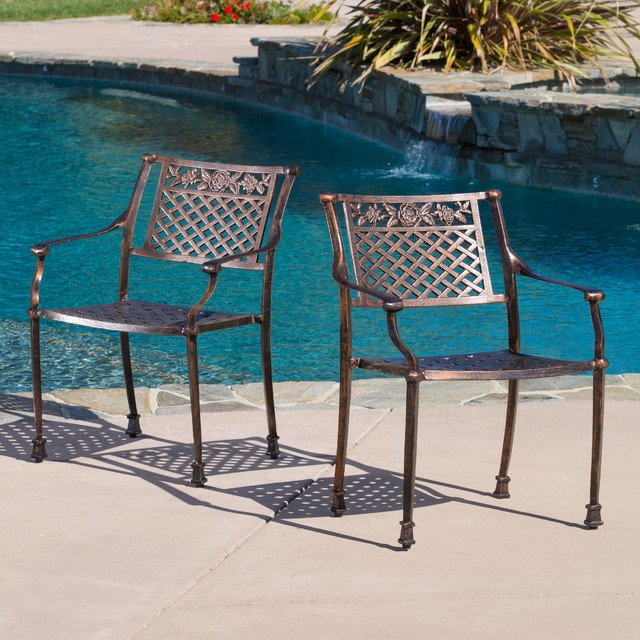 Contemporary Outdoor Patio Ft Cast Aluminum Dining Chairs Set Of 2 Conte