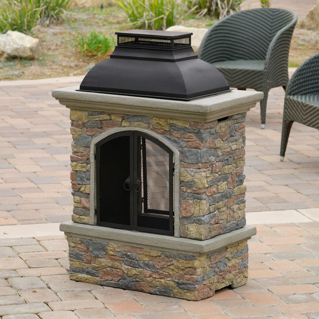 contemporary outdoor patio w outdoor chiminea fireplace