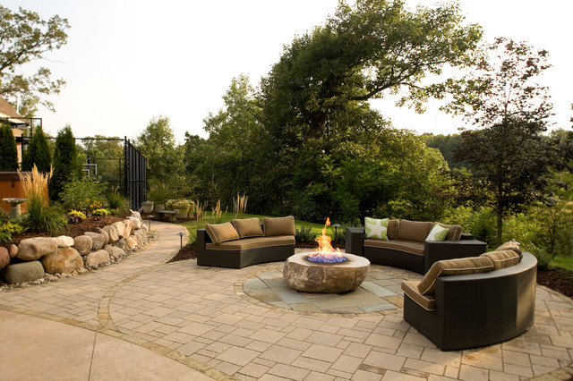 Fire Pit Patio With Boulder Wall Contemporary Patio