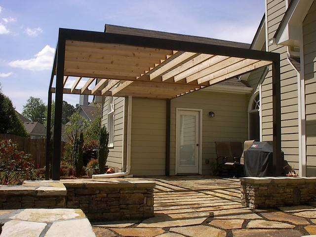 contemporary pergola over stone patio contemporary patio atlanta by gardensouth. Black Bedroom Furniture Sets. Home Design Ideas