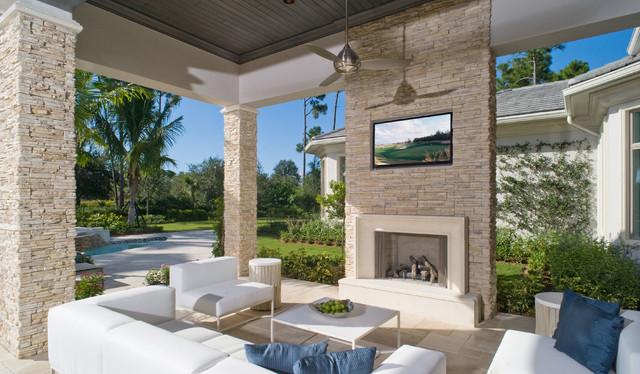 Contemporary stone outdoor fireplace for Eldorado stone outdoor kitchen cabinet