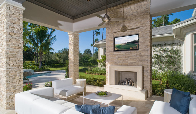 Contemporary Stone Outdoor Fireplace, Outdoor Patio With Fireplace And Tv