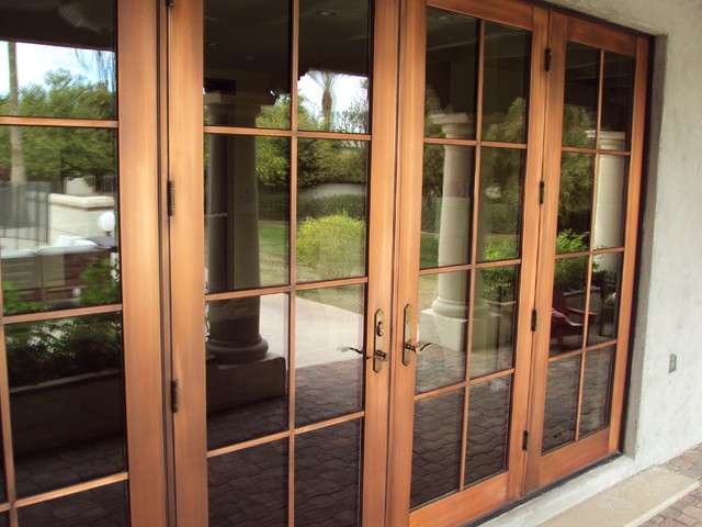 Copper doors after protective coating mediterranean-patio