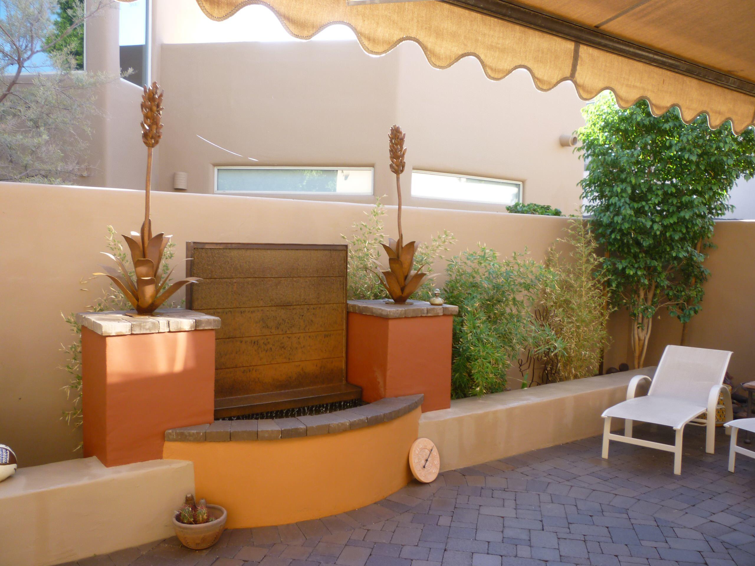Corten Steel Water Feature w/ Seat Wall