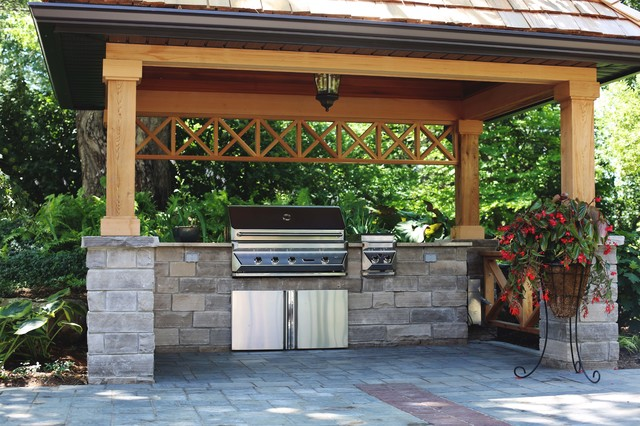 Covered Bbq Area With Natural Stone Counters Traditional