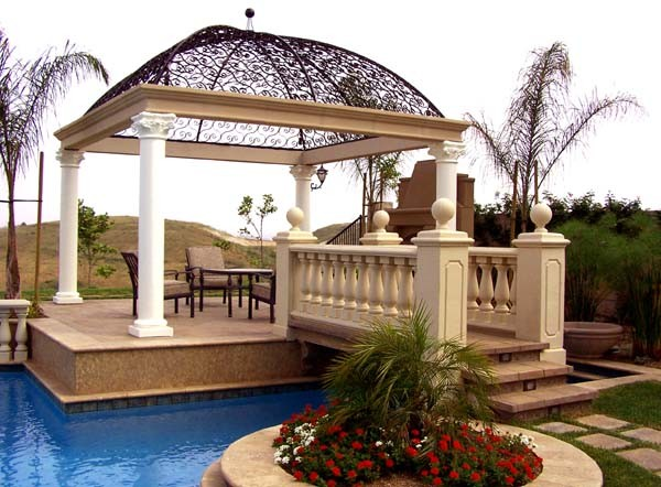 Covered Outdoor Fireplace mediterranean-patio