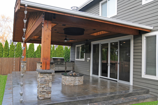 Covered Patio Firepit Craftsman Patio Seattle By Estate Homes Houzz Au