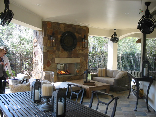 Covered Patio Fireplace Traditional Patio Houston By