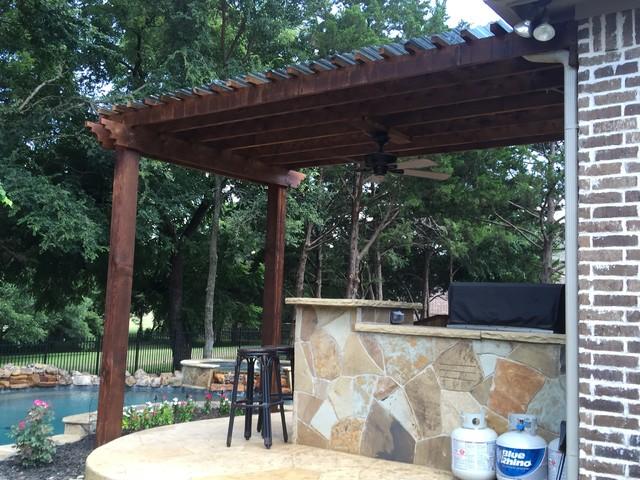 Covered patio pergolas for Rustic covered decks