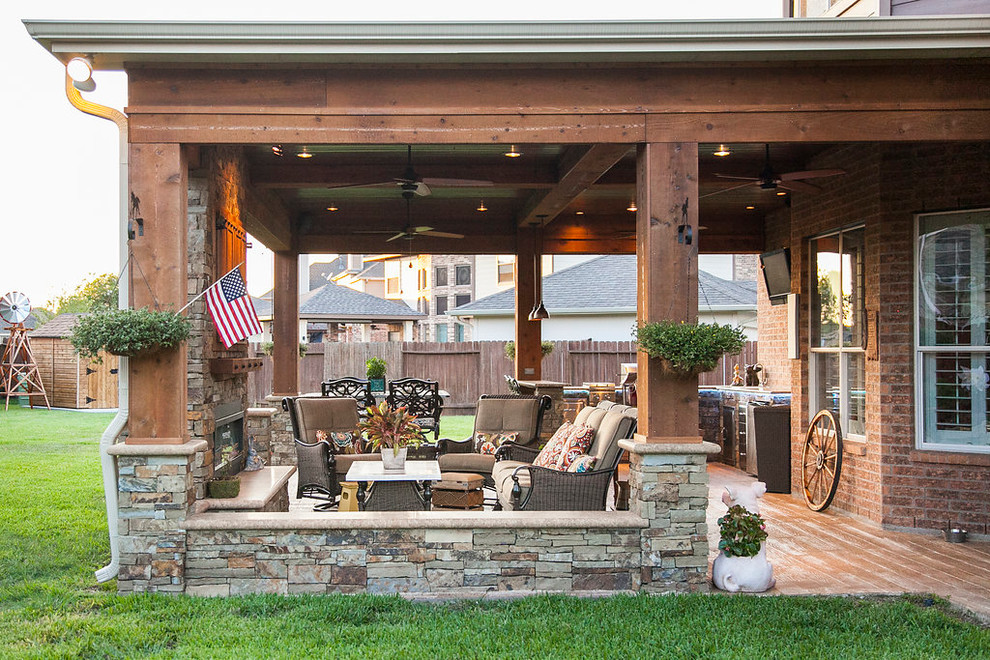 Covered Patio, Outdoor Kitchen: Katy, TX - Rustic - Patio ... on Outdoor Kitchen With Covered Patio id=23112