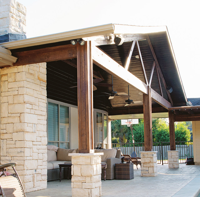 Covered patios and arbors rustic patio houston by for Rustic covered decks
