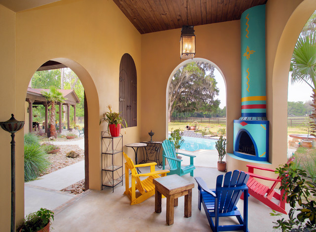 Covered porch fireplace for Southwestern fireplaces