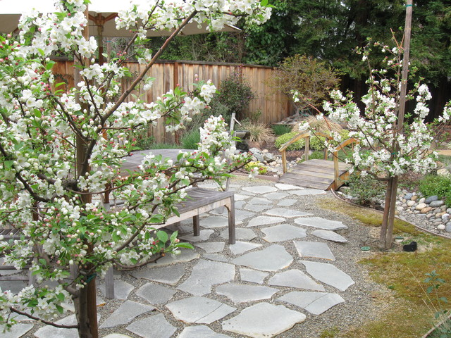 Crabapple tree bosque in bloom asian patio san for Verdance landscape design