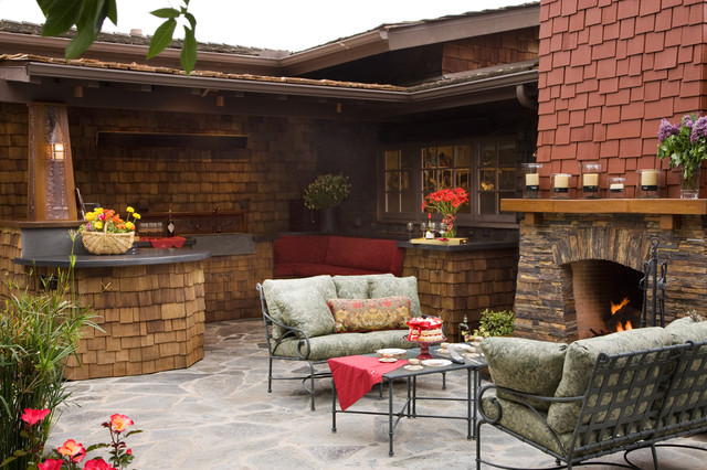Craftsman outdoor kitchen and fireplace traditional patio