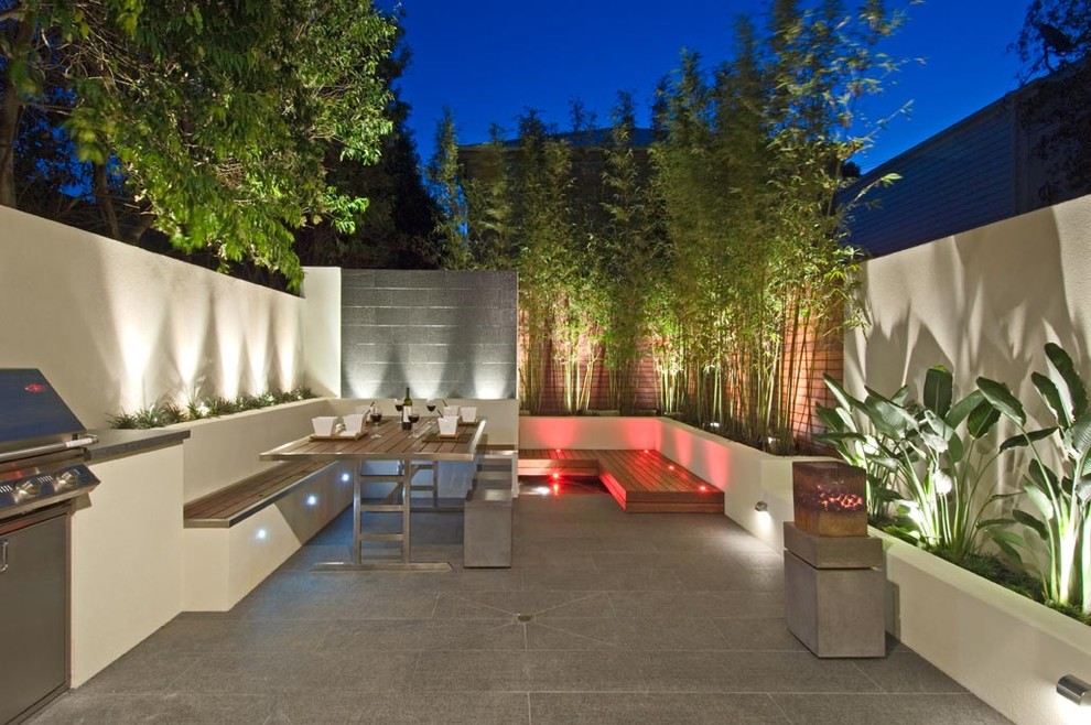 Inspiration for a contemporary patio remodel in Melbourne with no cover