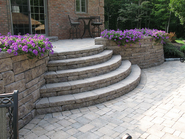 Creative Outdoor Stairs Options Using Allan Block Retaining Walls  Traditional Patio