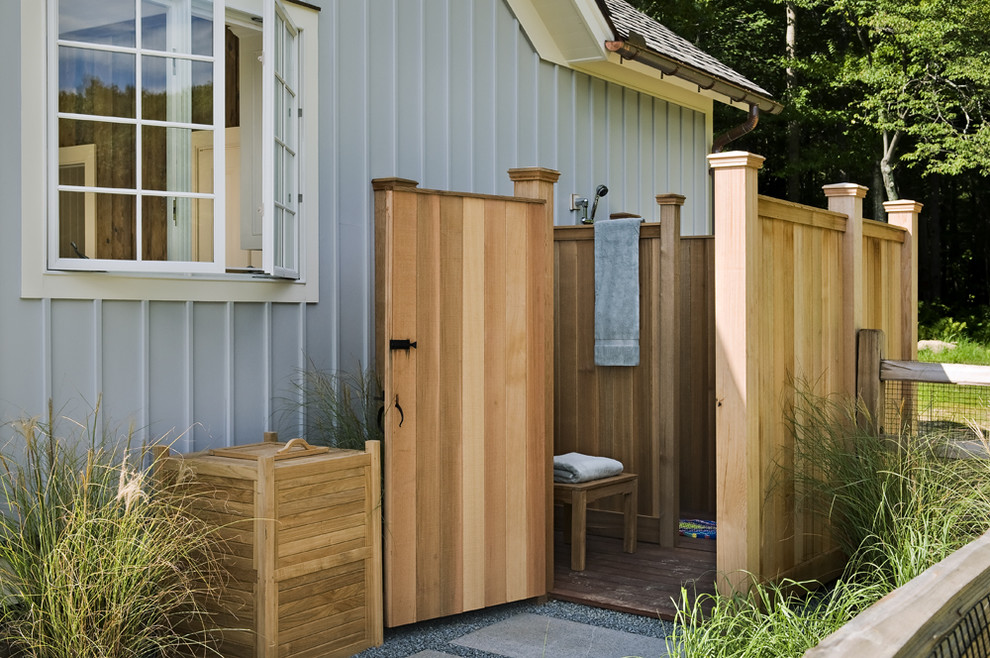 Cottage outdoor patio shower photo in New York with no cover