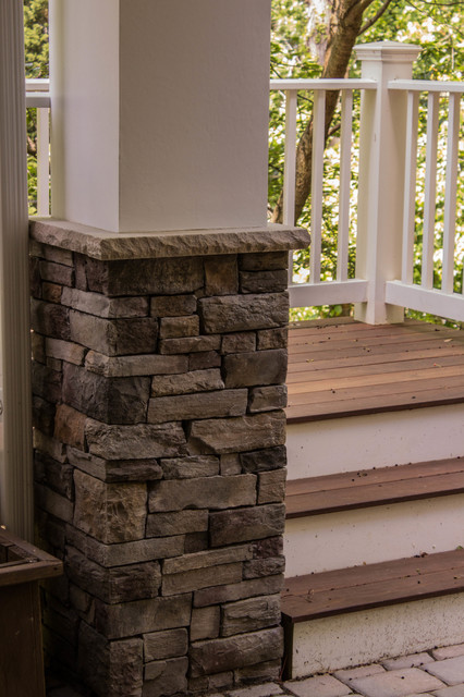 Cultured Stone Column Base With Limestone Cap And Stucco