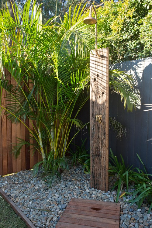 Outdoor shower with timber base