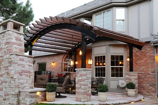 Curved Pergola Over Flagstone Patio Denver Colorado