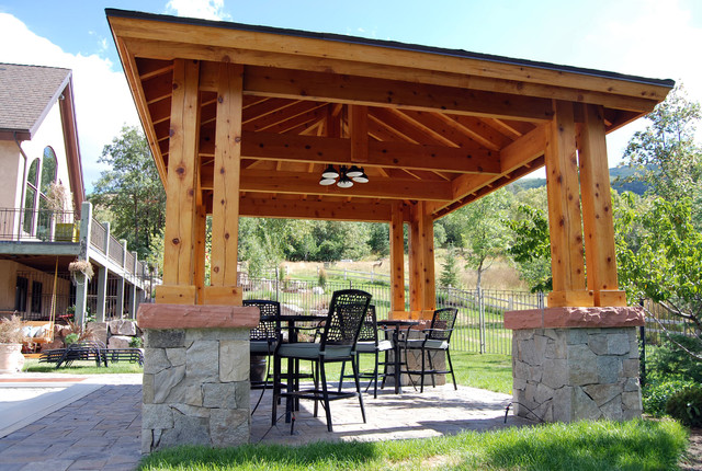 custom 14 x 18 timber frame stone pavilion patio